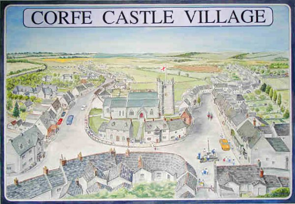 Corfe Castle Village Map